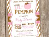 Girl Pumpkin Baby Shower Invitations Fall Little Pumpkin Girl Baby Shower Invitation Brown