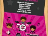 Girl Rockstar Party Invitations African American Girls Rock Star Birthday Party Invitation