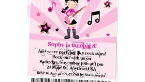 Girl Rockstar Party Invitations Printable Boy or Girl Rock Star Party Invitation