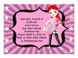 Girl Rockstar Party Invitations Red Hair Rock Star Girl Birthday Party Invitation 13 Cm X