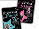 Girl Rockstar Party Invitations Rock Star Birthday Party Invitation Boy Girl