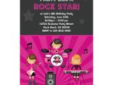 "Girl Rockstar Party Invitations Rock Star Girls Birthday Party Invitation 5"" X 7"