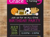 Girl softball Birthday Invitations Girls Printable Sports Birthday Invitation All Star Sports
