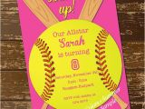 Girl softball Birthday Invitations softball Invitation Birthday Invitation softball Invite