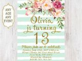 Girls 13th Birthday Party Invitations Floral Birthday Invitation 13th Birthday Invitations Girl