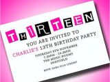 Girls 13th Birthday Party Invitations Personalised Boys Girls Teenager 13th Birthday Party