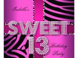 Girls 13th Birthday Party Invitations Sweet 13 13th Birthday Zebra Cow Pink Black Personalized