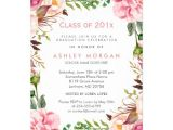Girly Graduation Invitations Girly Floral Chic Class Of 2017 Graduation Party Card