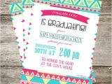 Girly Graduation Invitations Girly Graduation Invitation 5×7 Aztec Graduation