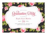 Girly Graduation Invitations Girly Vintage Floral Print Graduation Party 5×7 Paper