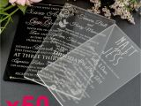 Glass Wedding Invitation Cards 50x Personalised Favours Acrylic Wedding Invitations 11b
