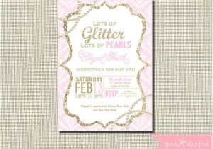 Glitter and Pearls Baby Shower Invitations Baby Shower Invitation Glitter and Pearl Baby Shower