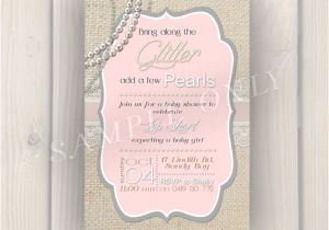 Glitter and Pearls Baby Shower Invitations Glitter and Pearls Baby Shower Invitation Vintage Baby