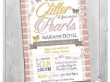 Glitter and Pearls Baby Shower Invitations Glitter and Pearls Invitation