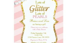 Glitter and Pearls Baby Shower Invitations Pink & Gold Glitter & Pearls Baby Shower Invites