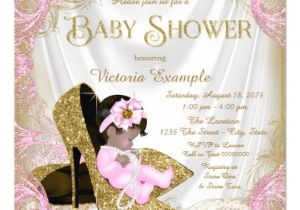 Glitter and Pearls Baby Shower Invitations Pink and Gold Glitter Shoe Pearl Baby Shower Invitation