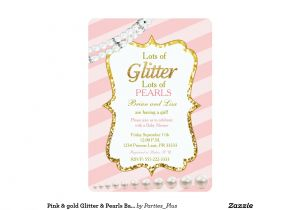Glitter and Pearls Baby Shower Invitations Pink Gold Glitter Pearls Baby Shower Invites