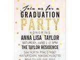 Glitter Graduation Party Invitations Gold Glitter Polka Dot Graduation Party Invitation Zazzle