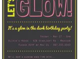 Glow In the Dark Party Invitations Free Glow In the Dark theme Birthday Party Invitation Custom