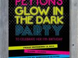Glow Party Invites Glow In the Dark Party Invitation for Birthday Black Light
