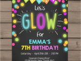 Glow Party Invites Neon Glow Party Invitation Glow Birthday Invitation Glow In