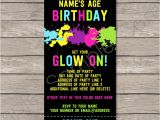 Glow Party Invites Neon Glow Party Ticket Invitation Template Editable Pdf