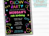 Glow Party Invites Printable Glow In the Dark Birthday Ticket Invitation