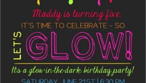 Glow Party Invites Printable Glow In the Dark theme Party Invitation