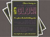 Glow Stick Party Invitations Glow In the Dark theme Birthday Party Invitation Custom