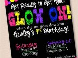 Glow Stick Party Invitations Neon Glow In the Dark Party Invitation by