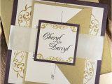 Gold Wedding Invitation Kits Items Similar to Wedding Invitation Eggplant Gold Elegant