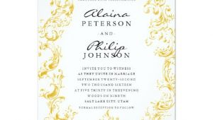 Gold Wedding Invitation Template Elegant Gold Frame Wedding Invitation Template Zazzle