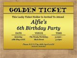 Golden Birthday Invitations Kids Personalised Golden Ticket Childrens Kids Birthday Party