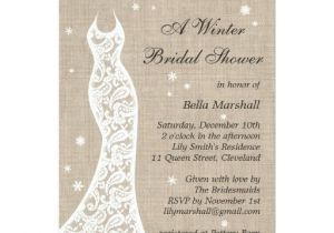 Gorgeous Bridal Shower Invitations Beautiful Burlap Winter Bridal Shower Invitation