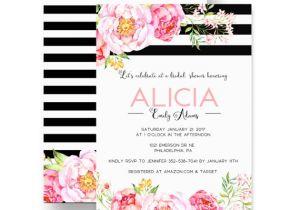 Gorgeous Bridal Shower Invitations Gorgeous Bridal Shower Invitation Floral Black Stripe