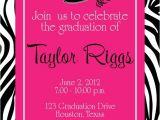 Graduation and Birthday Party Invitations Graduation Zebra Hot Pink Party Invitation Girl Birthday