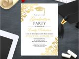 Graduation Invitation Printing Graduation Party Invitation Template Printable Gold Foul Girl