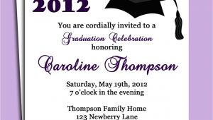 Graduation Invitation Words Graduation Party or Announcement Invitation Printable or