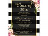Graduation Paper for Invitations Class Of 2016 Graduation Classy Floral Stripes 5×7 Paper