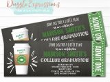 Graduation Party Ticket Invitations Printable Starbucks Inspired Chalkboard Ticket Graduation