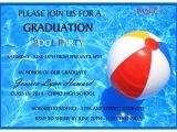 Graduation Pool Party Invitation Ideas Pool Party Graduation Invitation to order today