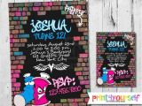 Graffiti Birthday Invitations Free 34 Best Graffiti and Glow Party Images On Pinterest Glow