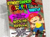 Graffiti Birthday Party Invitations Graffiti Dance Birthday Party Invitation