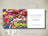 Graffiti Birthday Party Invitations Stone S Birthday Invitation Graffiti Custom Personalised