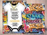 Graffiti themed Birthday Invitations Fresh Prince Baby Shower Hip Hop Swagger 90s