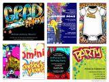 Graffiti themed Birthday Invitations Graffiti theme Party Invitations Party themes & Ideas