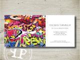 Graffiti themed Birthday Invitations Stone S Birthday Invitation Graffiti Custom Personalised