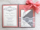 Gray and Coral Wedding Invitations Grey Coral Lace Wedding Invitation by Alexandrialindo On