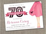 Grease Party Invites Poodle Skirt Invitation 70th Surprise Party Invite sock