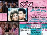 Grease Party Invites Set Of 8 Grease Inspired Birthday Invitations or Set Of 8